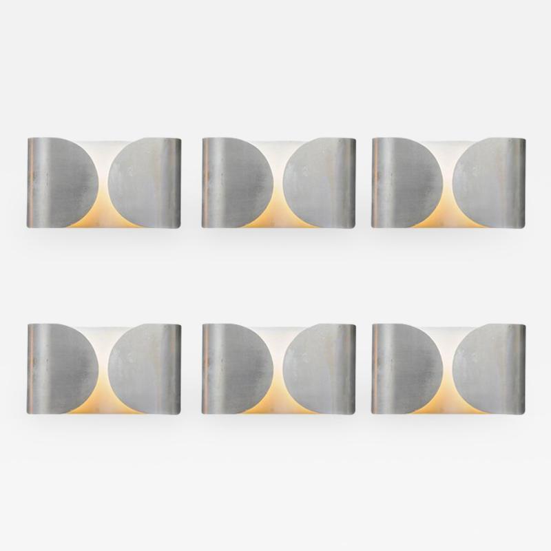 Set of Six Waved Metal Wall Sconces