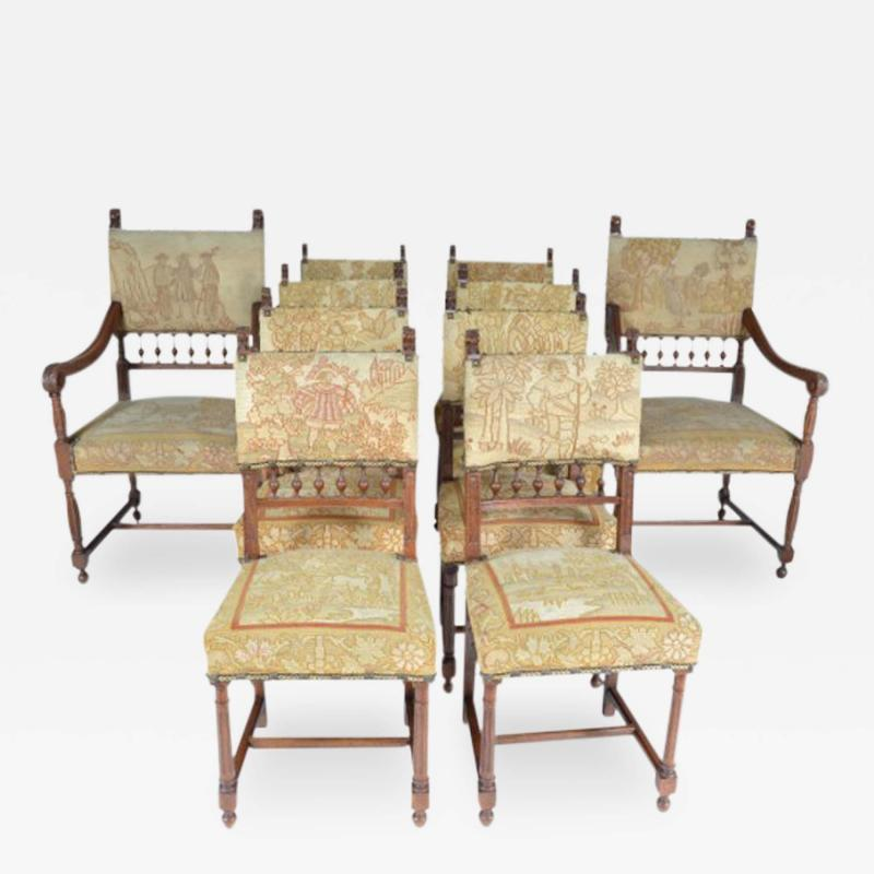 Set of Ten Henry II Style Needlepoint Chairs