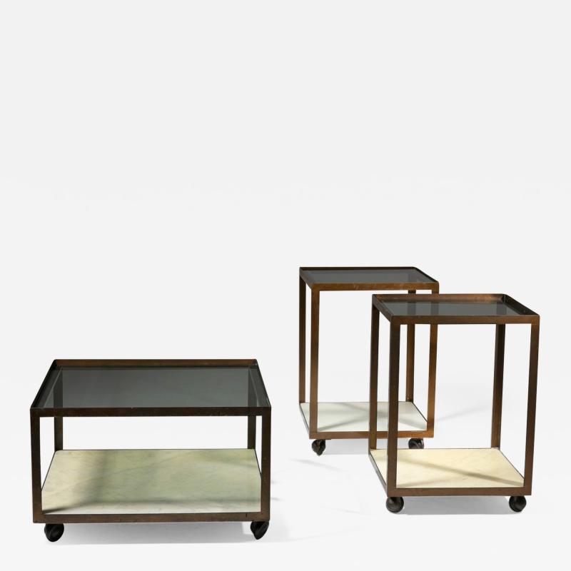 Set of Three Italian 60s Brass Side Tables