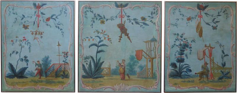 Set of Three Louis XV Painted Chinoiserie Canvas Panels