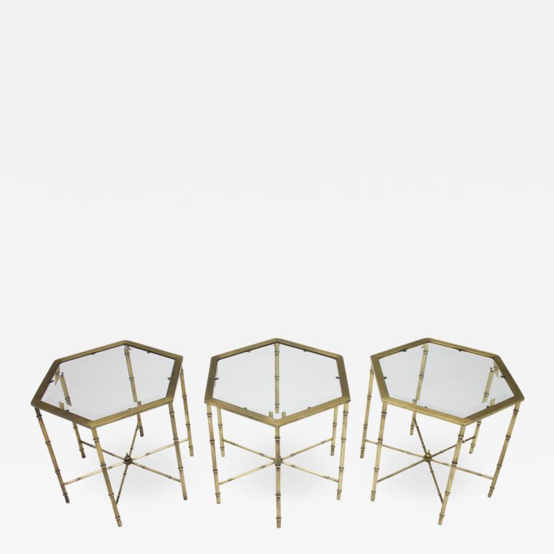 Set of Three Octagonal Side Table in Brass and Glass 1970s