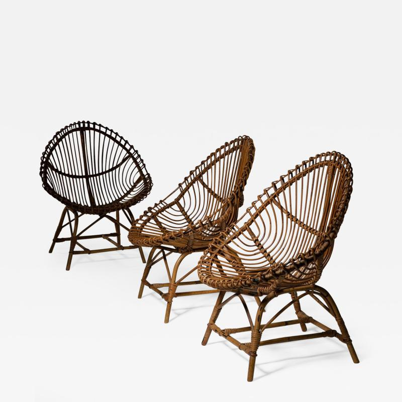 Set of Three Wicker Easy Chairs