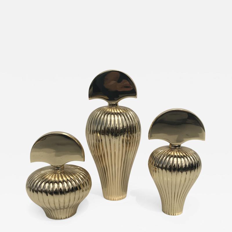 Set of Tree Brass Perfume Bottles