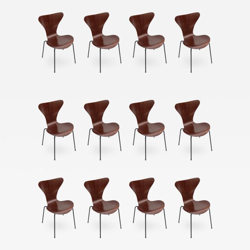 Set of Twelve 1960s Formiga Brazilian Jacaranda and Metal Dining Chairs