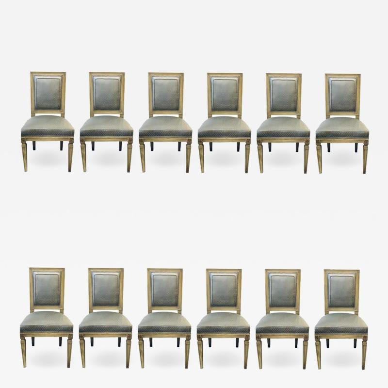 Set of Twelve Jansen Style Faux Linen Paint Decorated New Upholstery