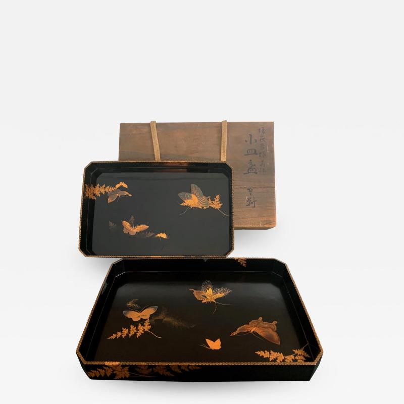 Set of Two Antique Japanese Lacquer Trays Edo Period