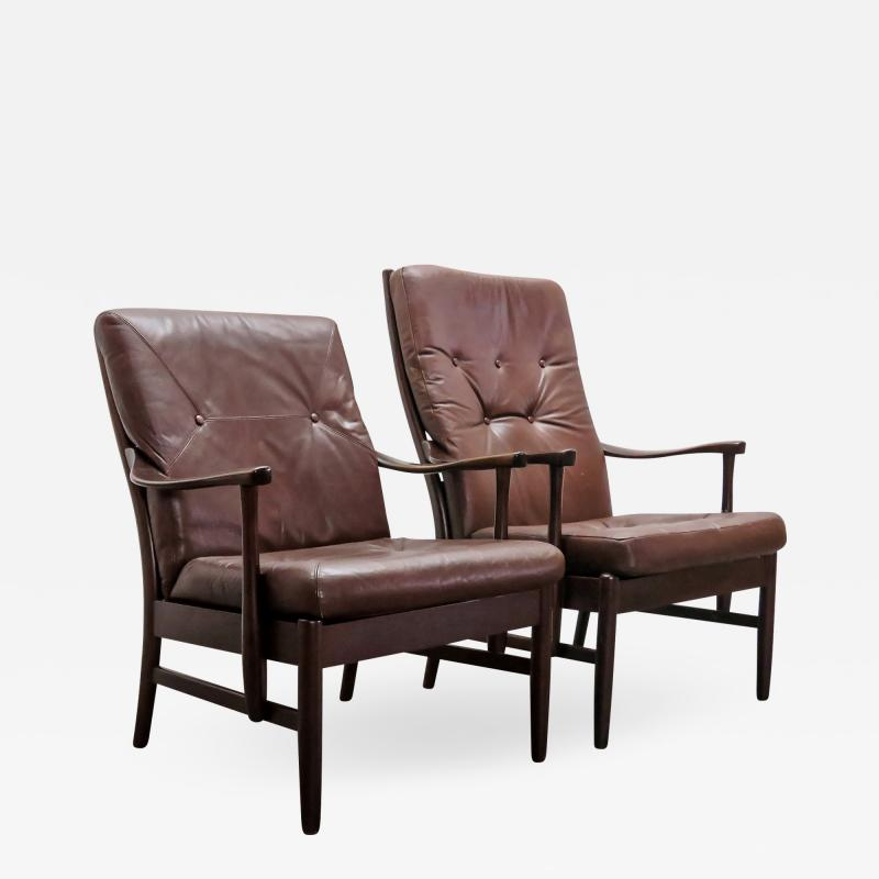 Set of Two Danish Leather Side Chairs