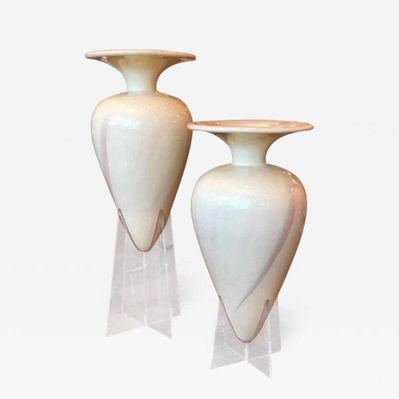 Set of Two Oversized Decorative Fiberglass Floor Urns on Lucite Bases
