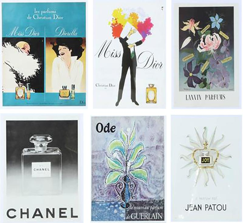 Set of Vintage French Perfume Advertisements