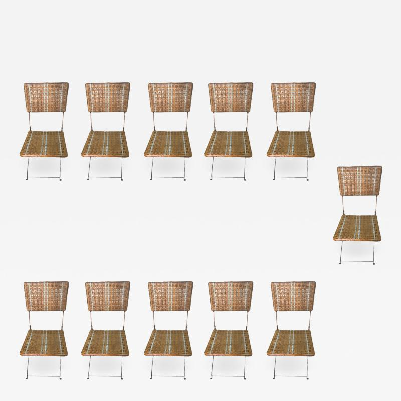 Set of eleven folding winter garden chairs circa 1900