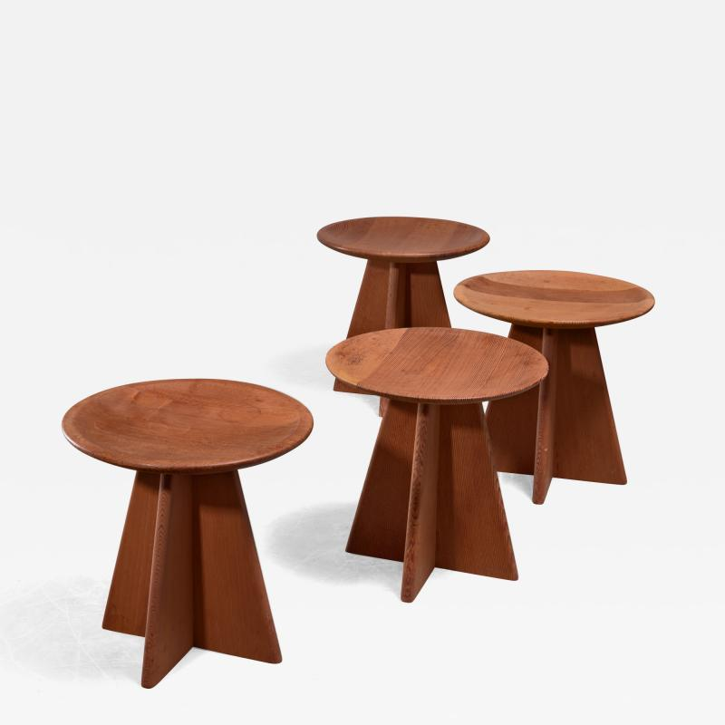Set of four pine cruciform stools