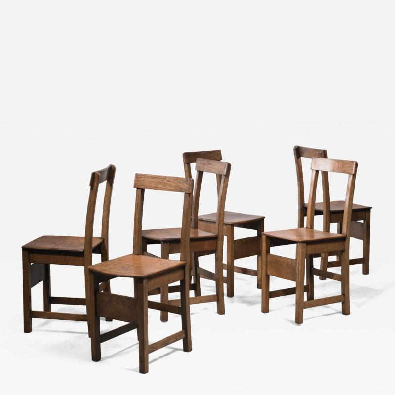 Set of six oak Arts Crafts dining chairs