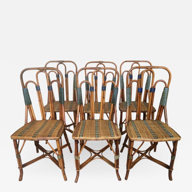 Set of six rattan winter garden chairs M Murard Lyon France circa 1930