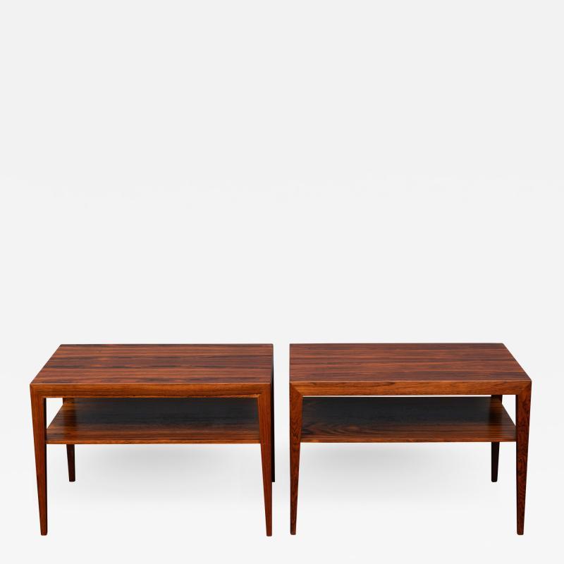 Severin Hansen Scandinavian Modern Rosewood Side Tables by Severin Hansen