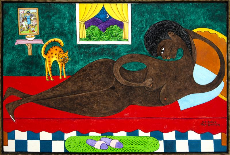 Seymour Etienne Bottex Sensuous Reclining Nude with Interested Cat