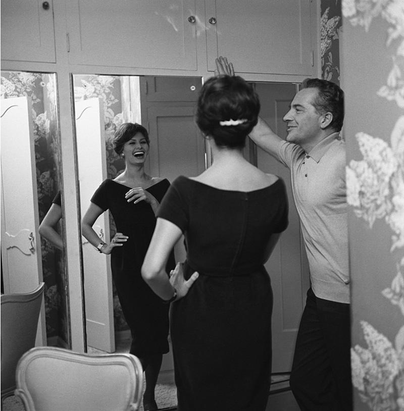 Sid Avery Rossano BRazzi Sophia Loren at Home in his Beverly Hills California House
