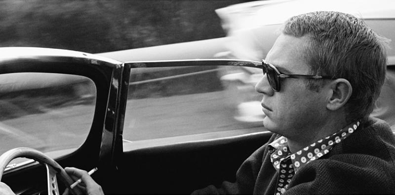 Sid Avery Steve McQueen Driving his 1957 XK SS Jaguar through Nichols Canyon in Hollywood