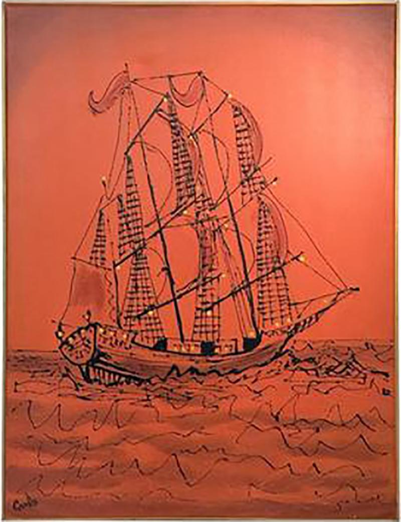 Signed Great Brutalist Bright Orange Pirates Galleon Oil Painting