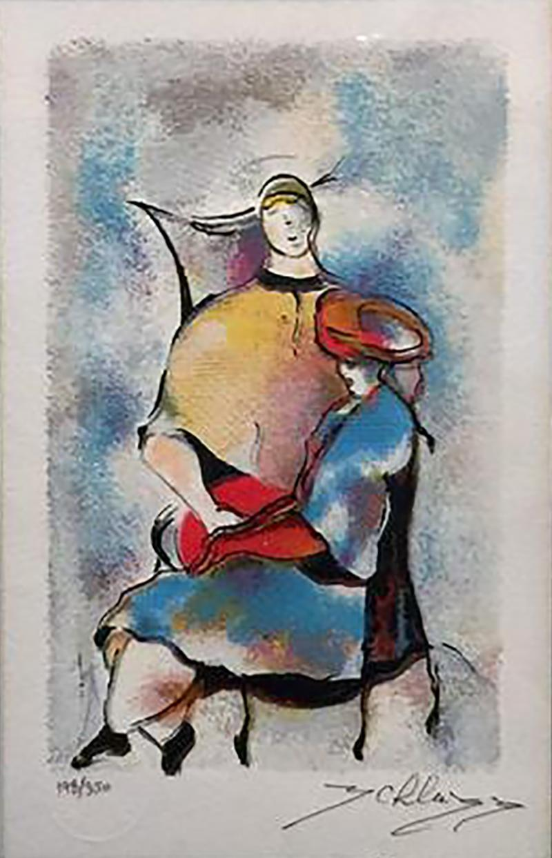 Signed Hand Colored Lithograph of Seated Abstract Women
