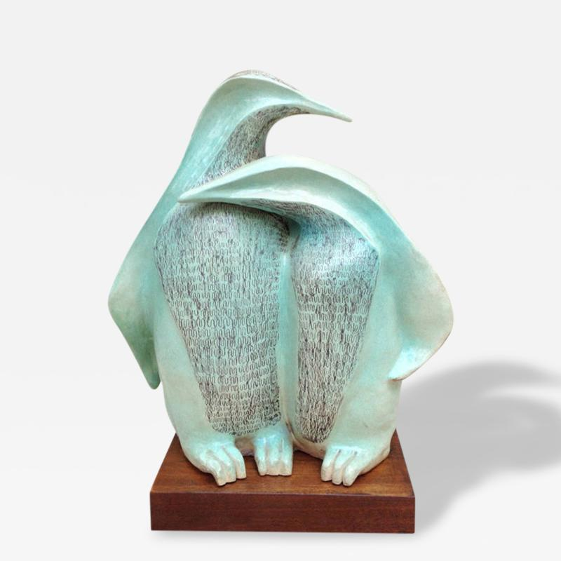 Signed Herman Ceramic Penguin Sculpture