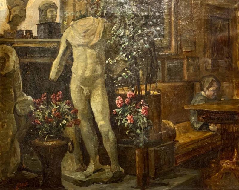 Sigurd Wandel 1875 1947 Reading Room Denmark Late 19th Century