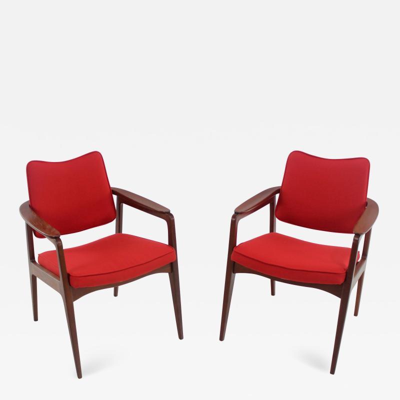 Sigvard Bernadotte Pair of Solid Teak Scandinavian Modern Armchairs Designed by Sigvard Bernadette