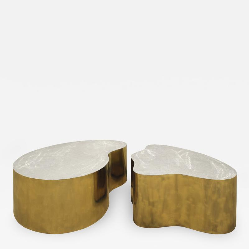 Silas Seandel Silas Seandel Pair of Coffee Tables in Brass and Brushed Steel 1980s signed