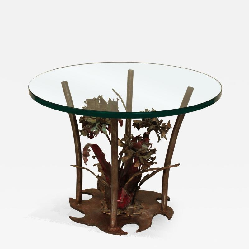 Silas Seandel Silas Seandel Studio Made Bronze Table with Flowers 1975