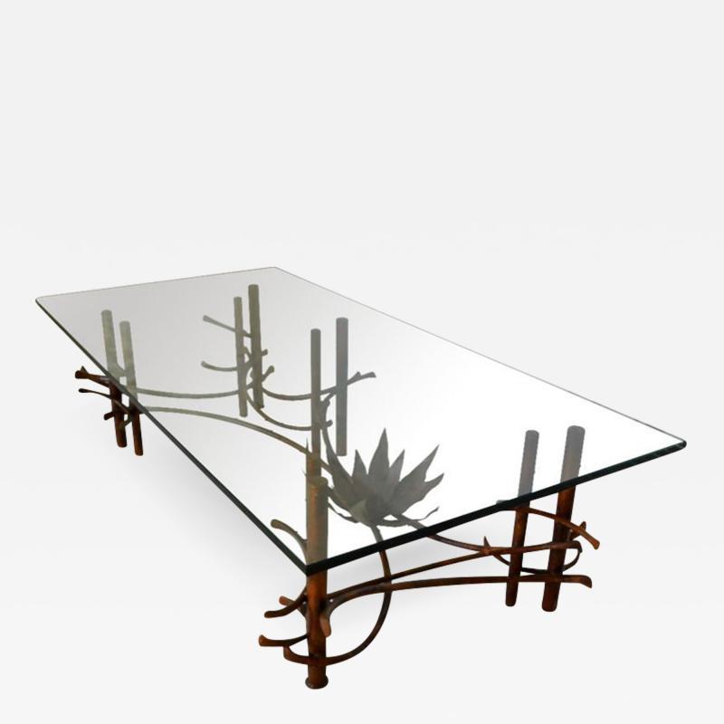 Silas Seandel Silas Seandel Style Patinated Copper Glass Cocktail Table circa 1960