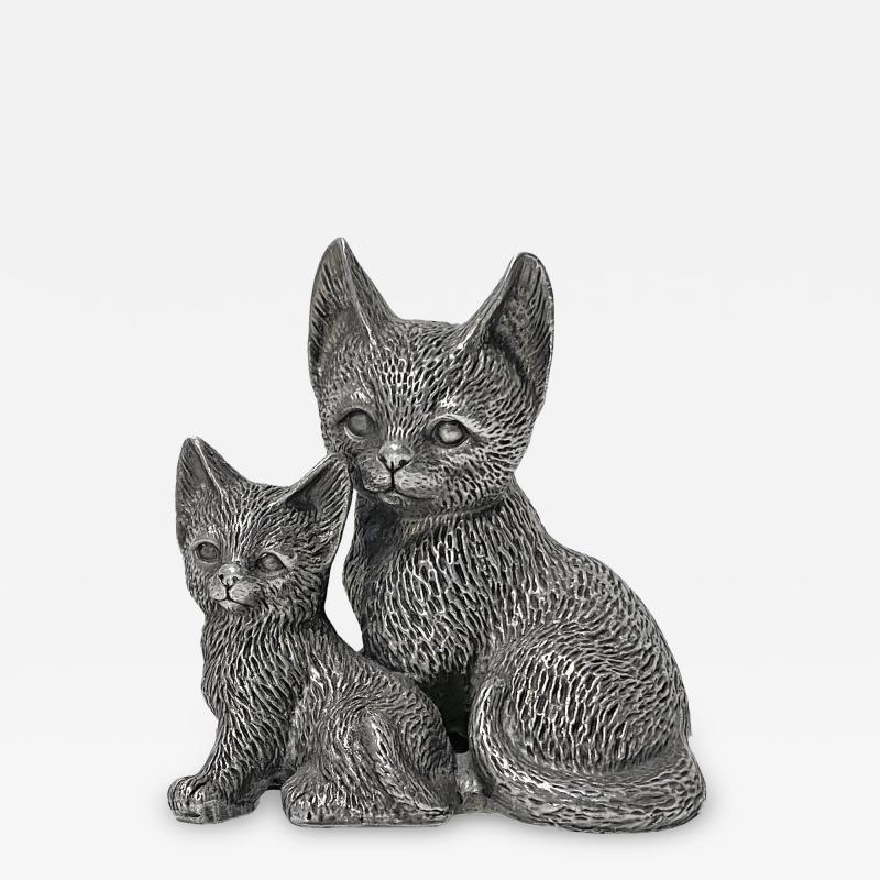 Silver 925 Cat and Kitten Sculpture 1960 s