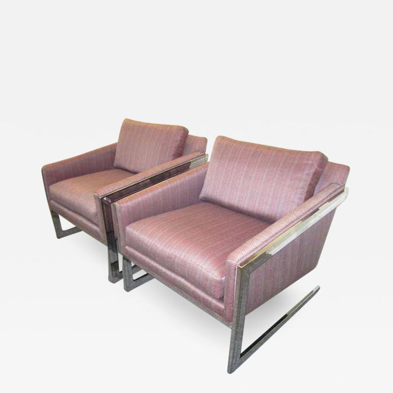 Silver Craft Magnificent Pair of Angled Chrome Flat Bar Lounge Chairs