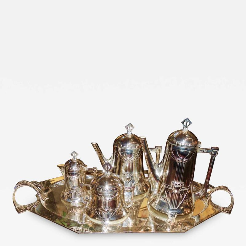 Silver Tea Coffee Set WMF Art Nouveau with Tray