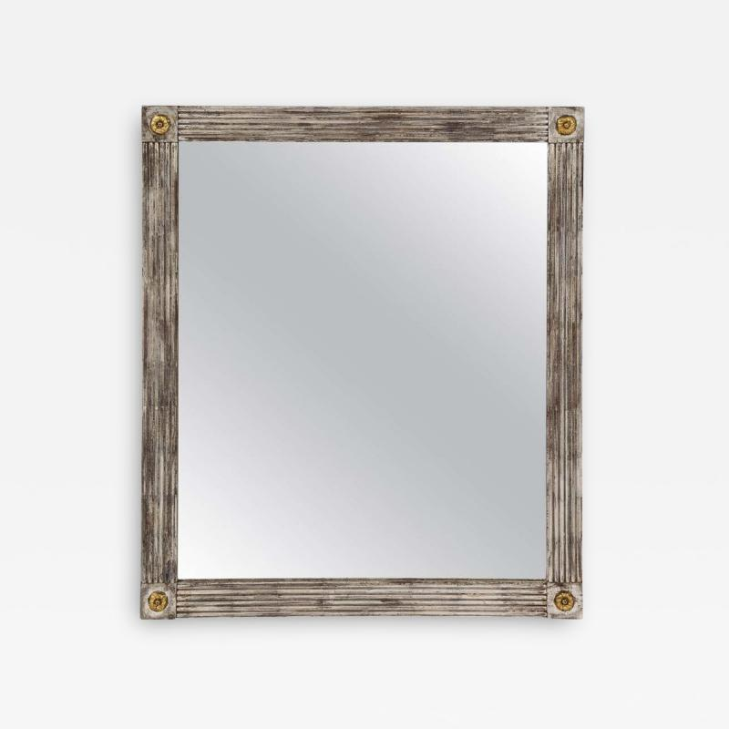 Silvered Wood Mirror with Gold Rosettes