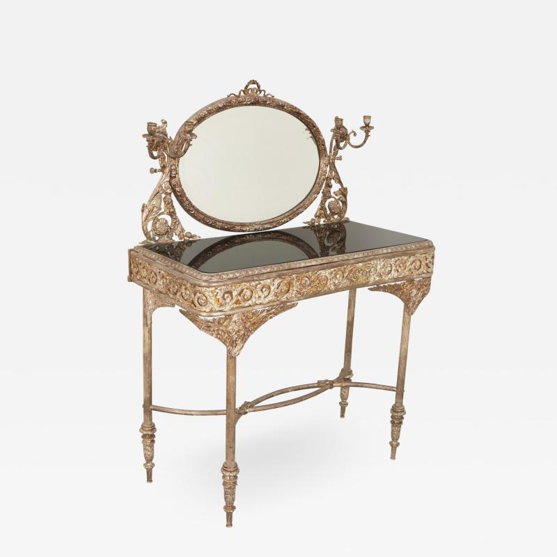Silvered bronze and mirrored antique French dressing table
