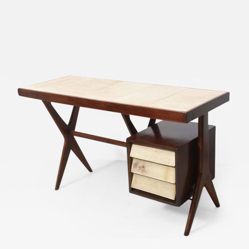 Silvio Cavatorta Italia Modern Mahogany and Parchment Desk Silvio Cavatorta