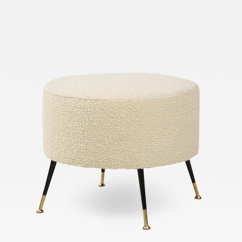 Single Round Stool or Pouf in Ivory Boucle Brass Legs Italy 2021