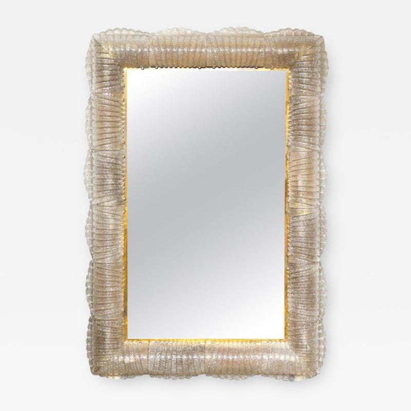 Single Textured Light Smoke Taupe Murano Glass and Brass Mirror Lighted Italy