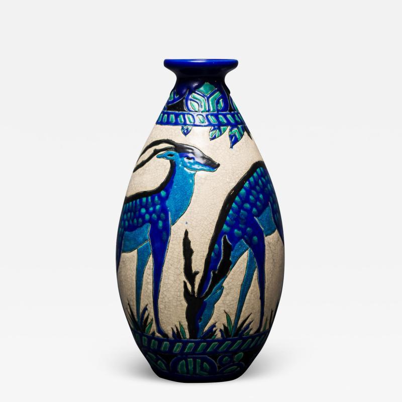 Single Vase with Deer Designed by Charles Catteau at Boch Fr res Keramis