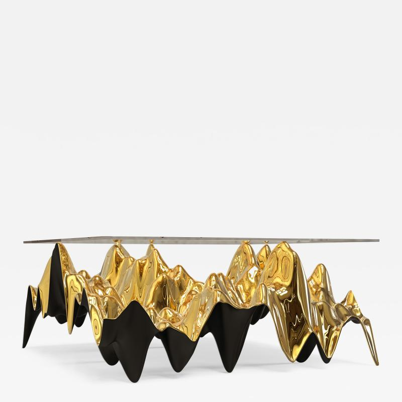 Sinusoid Coffee Table Polished Cast Bronze