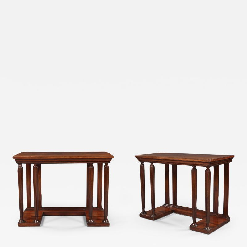 Sir John Soane A Pair of Neoclassical Mahogany Side Tables In The Manner Soane