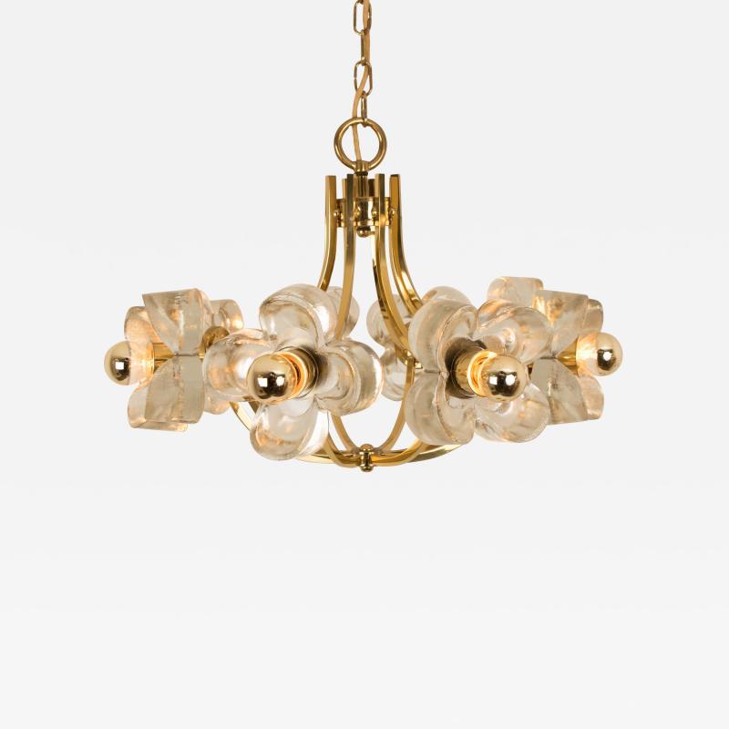 Sische Simon and Schelle Sische Glass and Brass Chandelier 1960s Modernist Design Kalmar Style