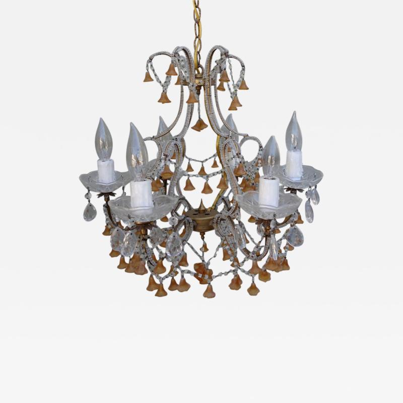 Six Light Italian Beaded Murano Crystal Chandelier with Glass Bells