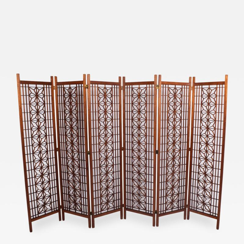 Six Panel Teak Screen Room Divider