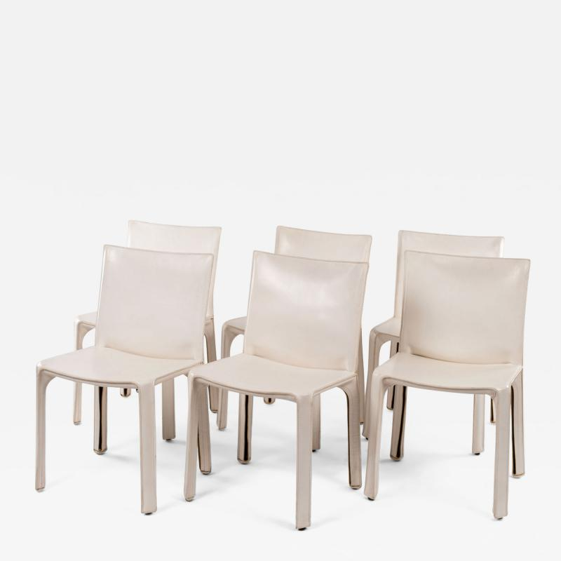 Six White Mario Bellini Cab 412 Side Chairs