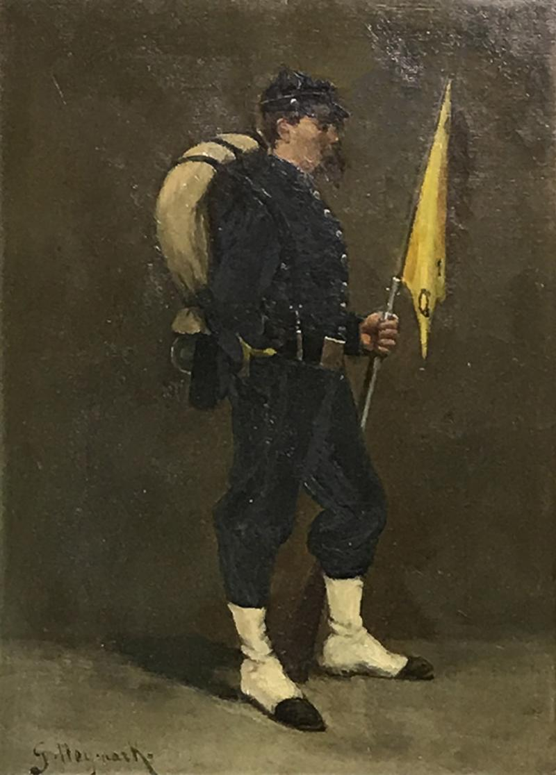Small 19th Century Portrait of Infantryman Signed Heymark