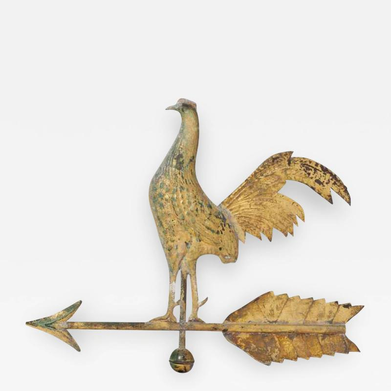 Small American Molded Copper Gamecock Weathervane
