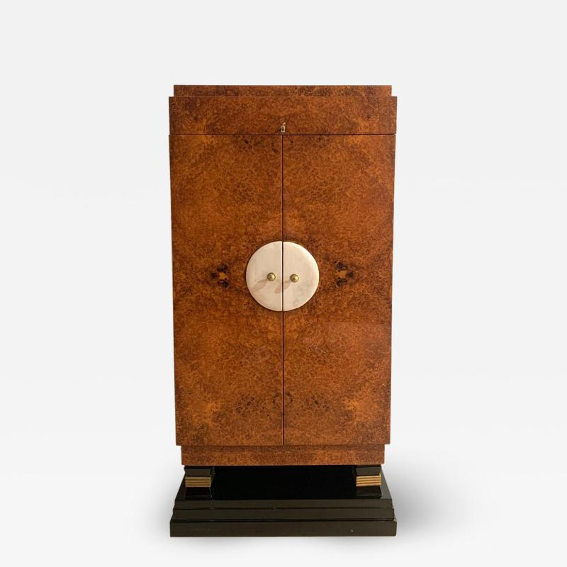 Small Art Deco Cabinet Amboyna Roots Leather and Brass France circa 1930