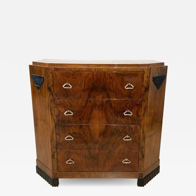 Small Art Deco Commode Chest Walnut Veneer and Brass France circa 1930
