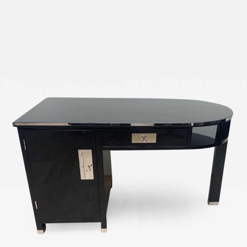 Small Art Deco Desk with Column Leg Black Lacquer and Metal France circa 1930
