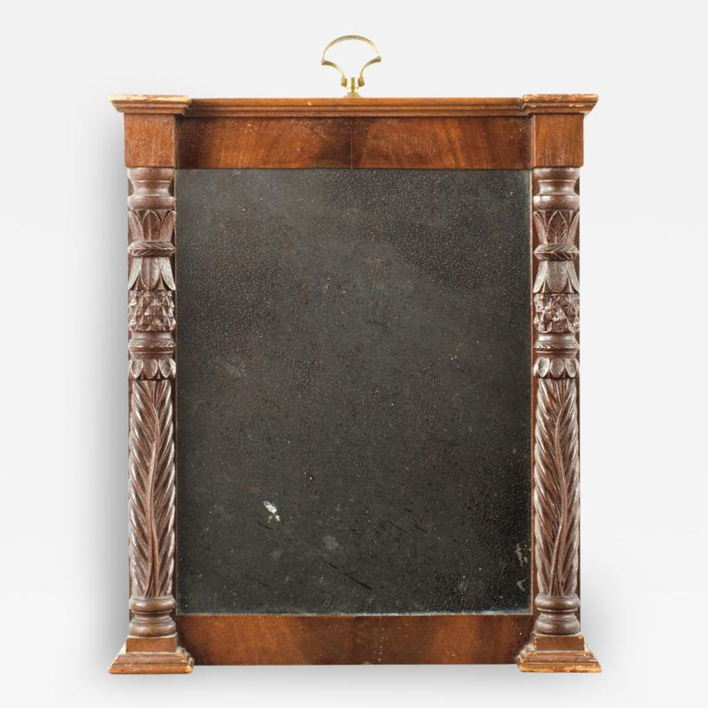 Small Federal Mirror with Pineapple Carved Pilasters Circa 1820 1830
